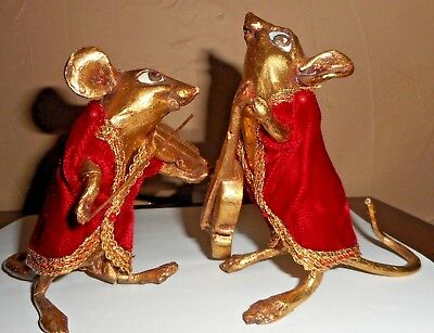 Vintage Pair Of  Hand Painted Musician Christmas Mice/mouse Figurines Red Velvet