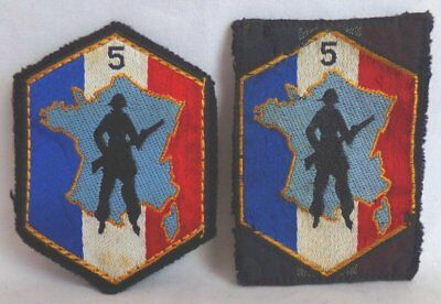 (2) French Army 5th Military Region Defense Force Embroidered Patches