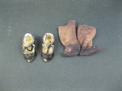 GREAT ANTIQUE GERMAN DOLL SHOES MARKED 3 with BROWN SOCKS- GERMAN OR FRENCH