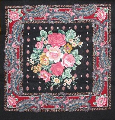 2 Vintage Black, Red, Teal Blue, Pink Green Paisley Antique Pillow Panel # 6299