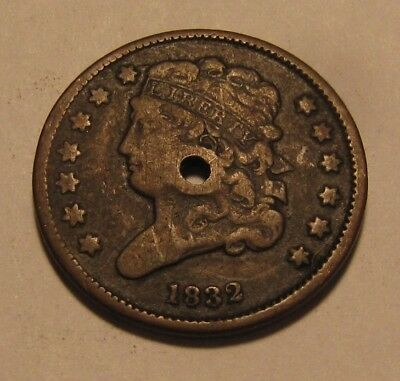 1832 Classic Head Half Cent Penny - Extra Fine Detail / Holed - 79SU