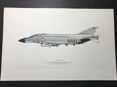 F-4 NAVY PHANTOM MCDONNELL DOUGLAS 17x11 HIGH QUALITY LITHOGRAPH