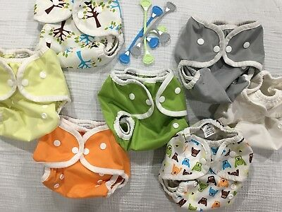 Lot Of 7 Thirsties Diaper Covers Size 1 & 3 Snappi Fasteners
