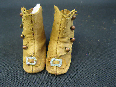 Fabulous Antique Leather Doll Boots With Toe Buckles Ans Buttons