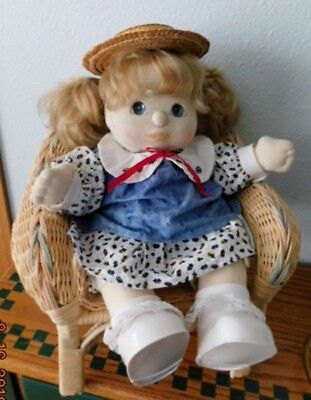 1985 MY CHILD DOLL GIRL Sand Blond Coun  Blue eyes Summer Outfit w/Straw Hat VGC