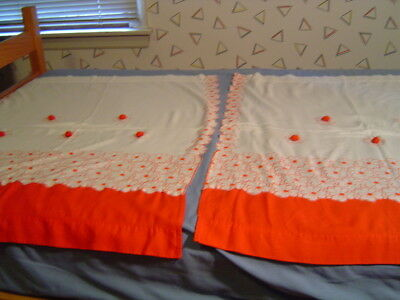 1 Pair Vintage Red And White Kitchen Curtain Panels 28 X 34 1950's