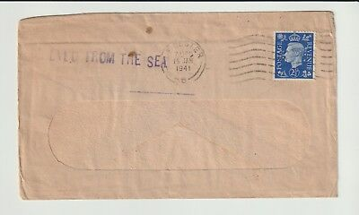 GB STAMPS 1941 ENVELOPE TO PALESTINE DAMAGED BY SEA WATER CACHET SS ATHENA No 04