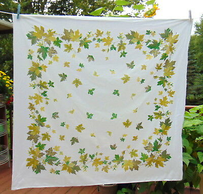 "Vintage 1950's Cotton Tablecloth Green Leaves BEAUTY 50"" X 52"" Great Condition!"