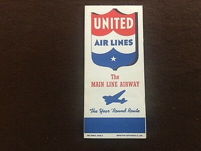 United Airlines Time Table - 1939 - United Airlines - Brochure - United Airlines