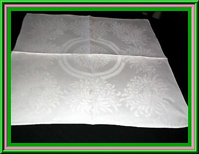 Pristine Set Antique Irish Linen Damask Napkins Or Lapkins With Chrysanthemums