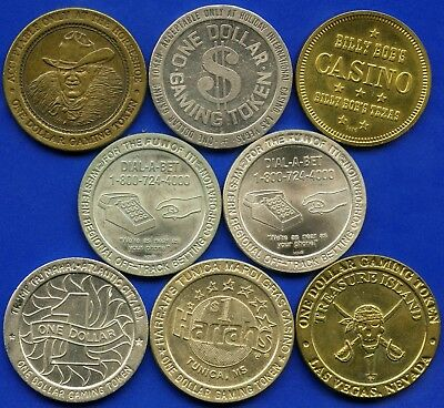 Group Of 8 Gaming Casio Coin Tokens 35 - 37 mm Diameter