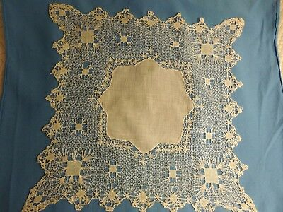 Antique Lace Wedding Hankie.Circa 1881.Entirely hand-made.Excellent condition.