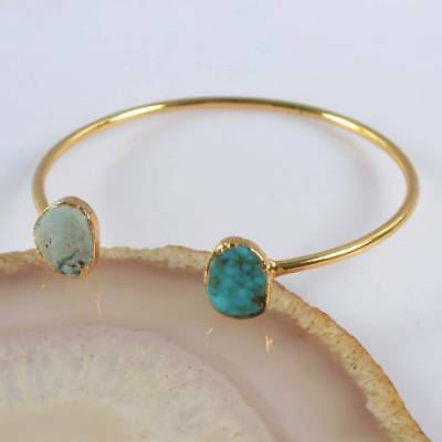 Defective Natural Genuine Turquoise Bangle Gold Plated H120850