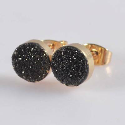 8mm Round Natural Agate Titanium Druzy Stud Earrings Gold Plated H120389