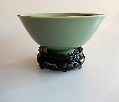 Chinese Celadon Crackled Glaze Bowl Studio Hand Crafted Signed with Stand