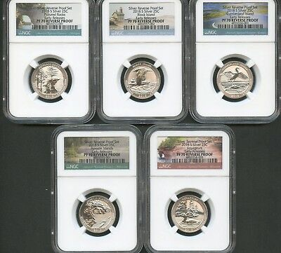 2018 S Silver Quarter Set (5 Pieces) REVERSE PROOF NGC PF70 EARLY RELEASES