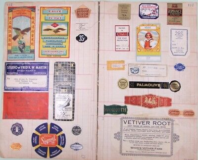 15 Pages Vintage Advertising Labels 1930's Fire Crackers Booze Candy Fruit