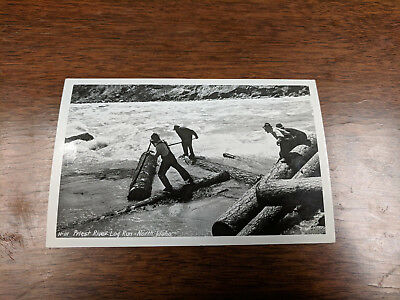 Vintage Priest River Log run - North Idaho RPPC Photo Post card