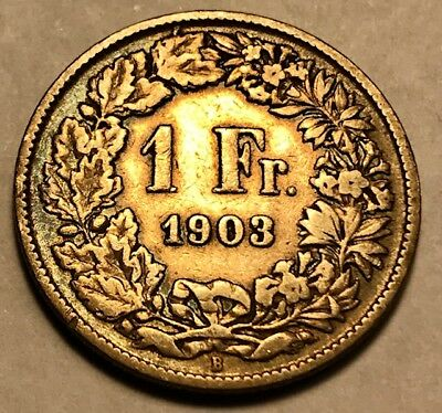 SWITZERLAND - One Franc 1903B - Bern - Toned Silver Coin - FREE SHIPPING!