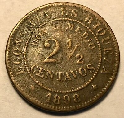 CHILE - 2 1/2 Centavos - 1898 So. - Santiago Mint - FREE SHIPPING!