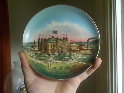 1902 New West Baden Springs Hotel W.baden,in Hand Painted Plate Rare Variant