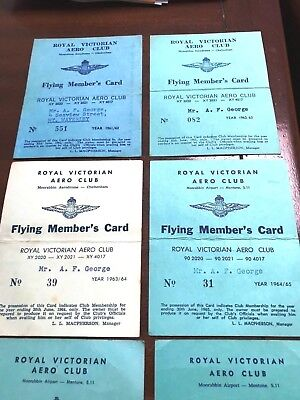 Royal Victorian Aero Club-Flying Member's Card-1961-1971-Nine cards-Rare Lot.
