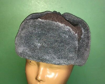 Authentic Soviet Ushanka Russian Army Cossack Cold Weather Fur Hat USSR Grey