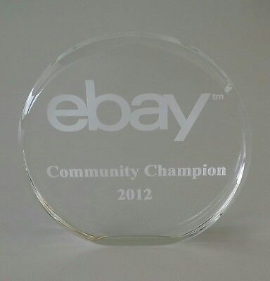 Official 4 inch tall 2012 ebay Community Champion Award Clear Lucite / Acrylic