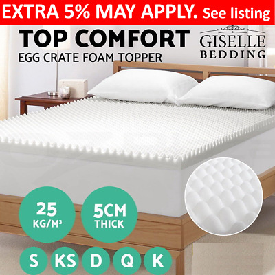 Deluxe Egg Crate Mattress Topper 5cm Underlay Protector Single Double Queen King