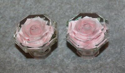 Antique Rare Set Of Lucite Octagon Door Knobs With Pink Flowers Inside