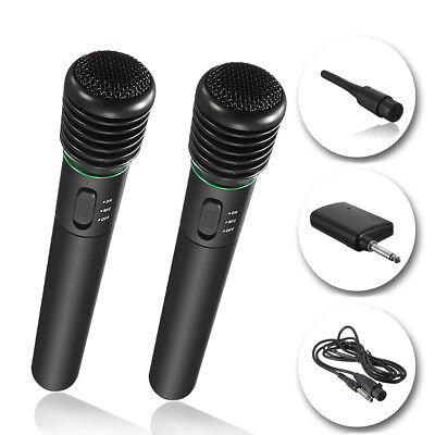 2x Pro Wired Wireless Cordless Microphone System Undirectional Handheld MIC KTV