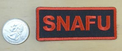 "Snafu - Red & Black  Iron-On Sew On Embroidered Patch 3  "" X 1 1/4 """