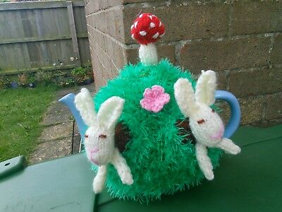 Hand Knitted Bunnies Tea Cosy/cozy/cosies/cozies. Brand New.