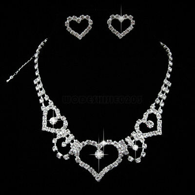 Heart Wedding Bridal Party crystal necklace earring  Silver Jewelry set N184