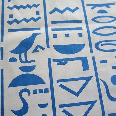 55cmX113cm Blue White Egyptian Novelty Vintage Cotton Blend Sewing Fabric 1980s