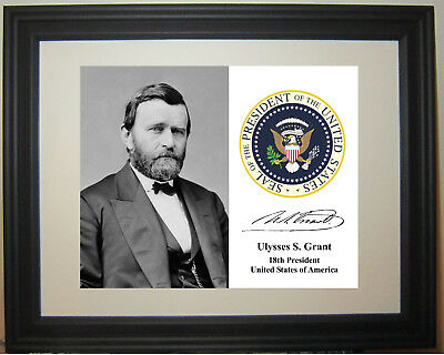 Ulysses S. Grant General 18th President Portrait Framed Matted Photo Photograph