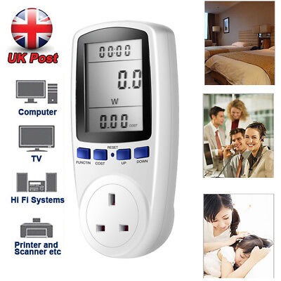 UK Plug in Electricity Power Consumption Meter Energy Monitor Watt Kwh Analyzer