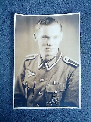 WWII GERMANY Military RPPC nco Iron cross 2 class - wounded badge + ISA silver