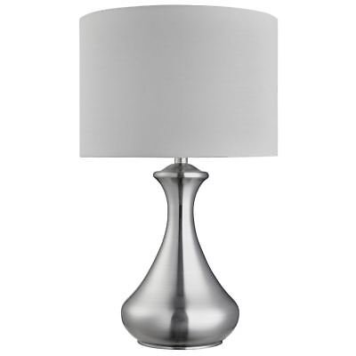 Searchlight Touch Lamp - Satin Silver,  White Shade Light Fitting - 2750SS