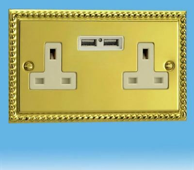 Varilight 2 Gang 13 Amp Un-Switched White USB Plug Socket Georgian Roped Brass