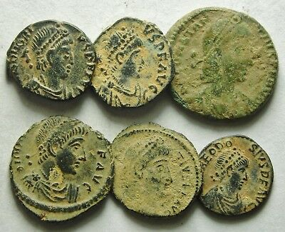 Selection Of Six Roman Bronze Coins (878F)