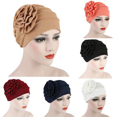 Women Floral Muslim Hijab Cap Solid Stretch Chemo Turban Head Scarf Striking