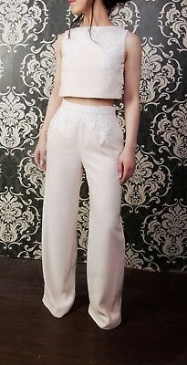 Stunning Ivory Champagne Designer Trouser / Top /  Bridal / Occasion  Size 10