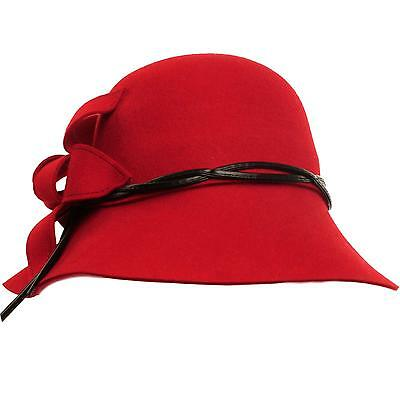 "Winter Wool Classy Hatband Floral 3-1/8"" Brim Cloche Bucket Hat Adjustable Red"