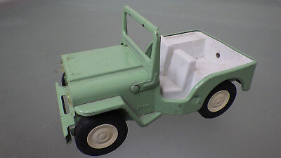 "Vtg 1960s Tonka Toy USA Model JEEP Run About 6"" Size * Light Green pressed steel"