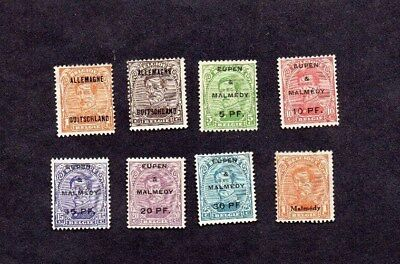BELGIAN OCCUPATION OF GERMANY.1919/20. 8xDIFF'T KING ALBERT OVERPRINT STAMPS.M.H