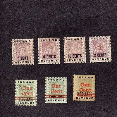 1888-9. 7xDIFF'T INLAND REVENUE STAMPS OVERPRINTED FOR POSTAGE. M.H/G.U MIX.