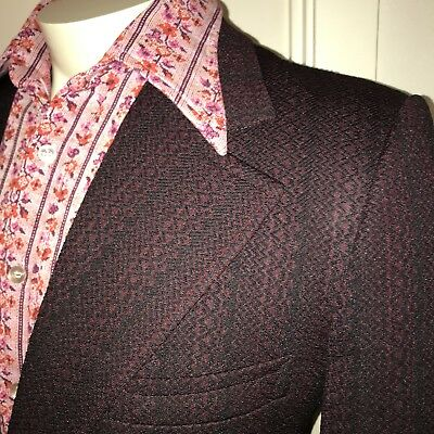 Vtg 60s 70s Burgundy POLYESTER Mens 41 LEISURE SUIT Sport Coat Jacket Blazer