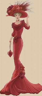 Cross stitch chart  Elegant Lady EL156jj  full length Flowerpower37-uk