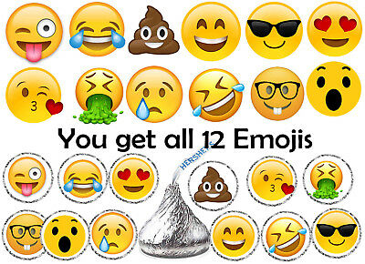 108 EMOJI BIRTHDAY Party Favors Hershey Kiss Kisses Labels